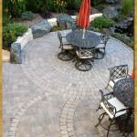 Paver patio, Plymouth, MN – Borgert pavers, Cobble Circles with custom inlays